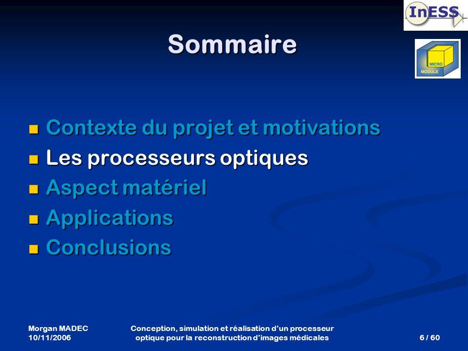 Morgan MADEC 10/11/2006 6 / 60 Conception, simulation et réalisation dun processeur optique pour la reconstruction dimages médicales Sommaire Contexte