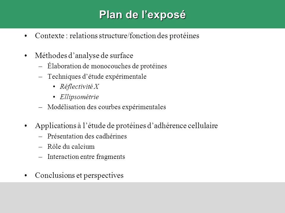 Plan de lexposé Contexte : relations structure/fonction des protéines Méthodes danalyse de surface –Élaboration de monocouches de protéines –Technique