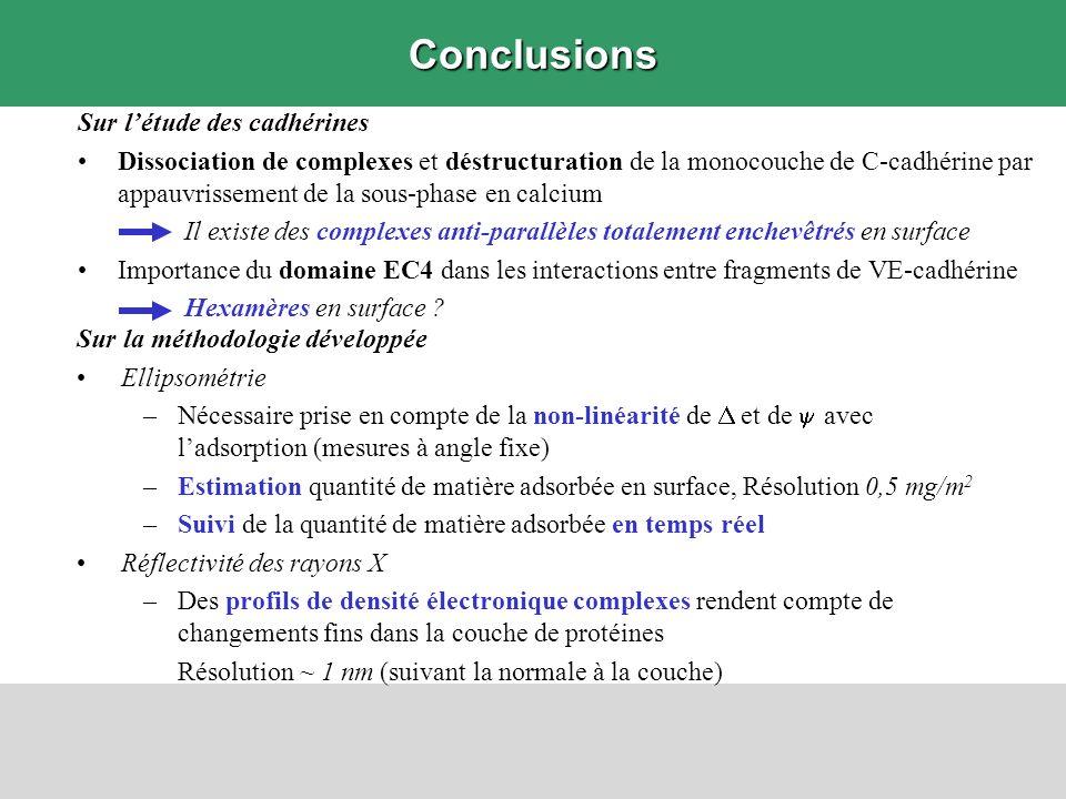 Sur la méthodologie développée Ellipsométrie –Nécessaire prise en compte de la non-linéarité de et de avec ladsorption (mesures à angle fixe) –Estimat
