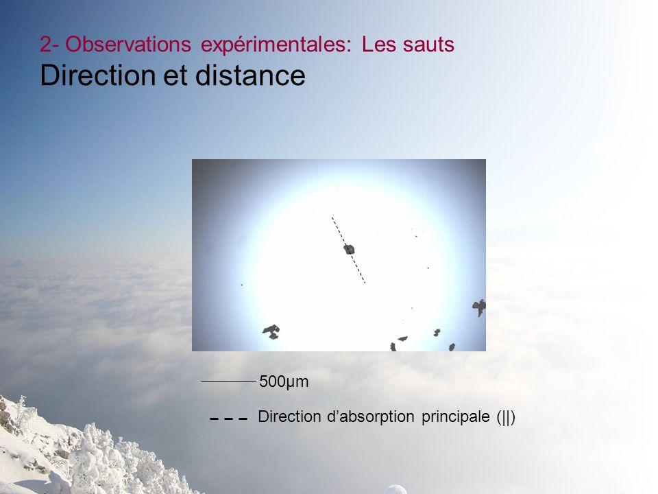 2- Observations expérimentales: Les sauts Direction et distance 500µm Direction dabsorption principale (||)
