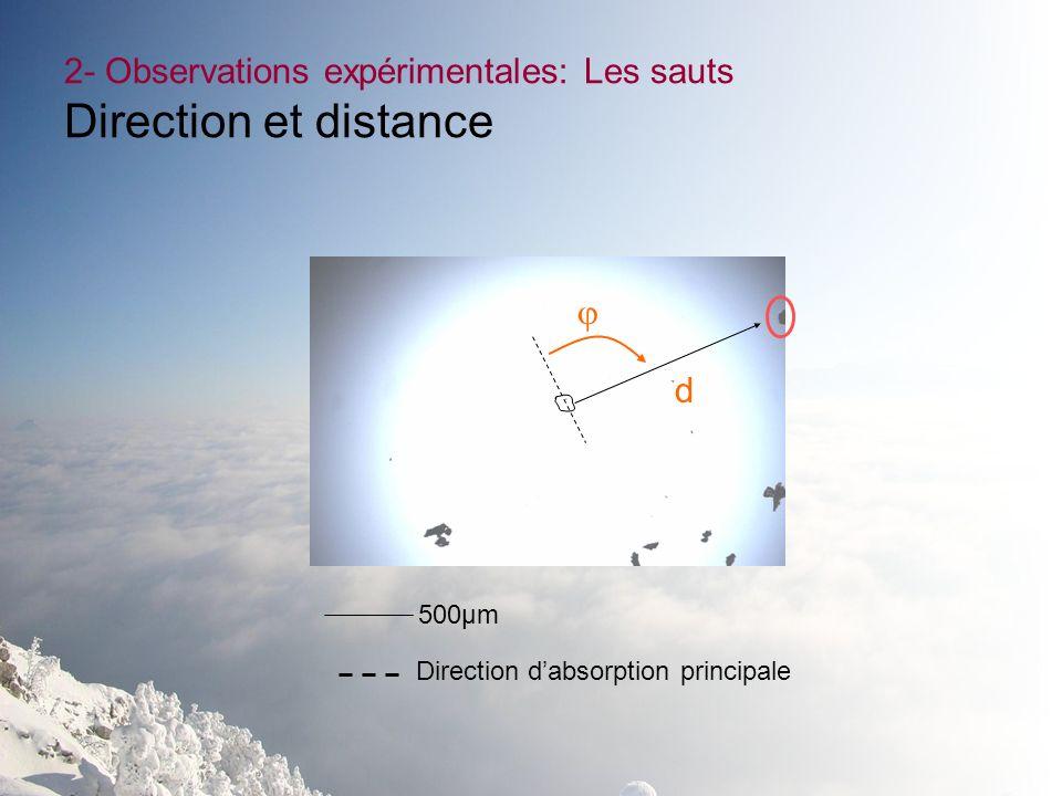 500µm 2- Observations expérimentales: Les sauts Direction et distance d Direction dabsorption principale