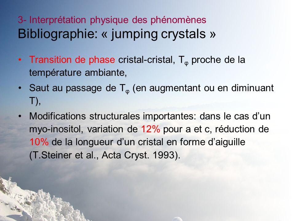 3- Interprétation physique des phénomènes Bibliographie: « jumping crystals » Transition de phase cristal-cristal, T φ proche de la température ambian