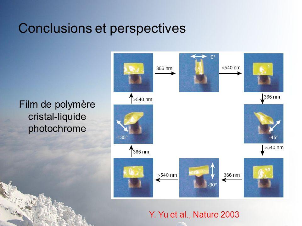Conclusions et perspectives Y. Yu et al., Nature 2003 Film de polymère cristal-liquide photochrome