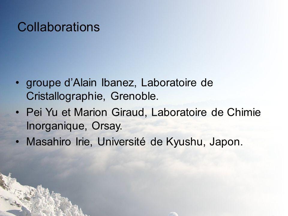 Collaborations groupe dAlain Ibanez, Laboratoire de Cristallographie, Grenoble. Pei Yu et Marion Giraud, Laboratoire de Chimie Inorganique, Orsay. Mas