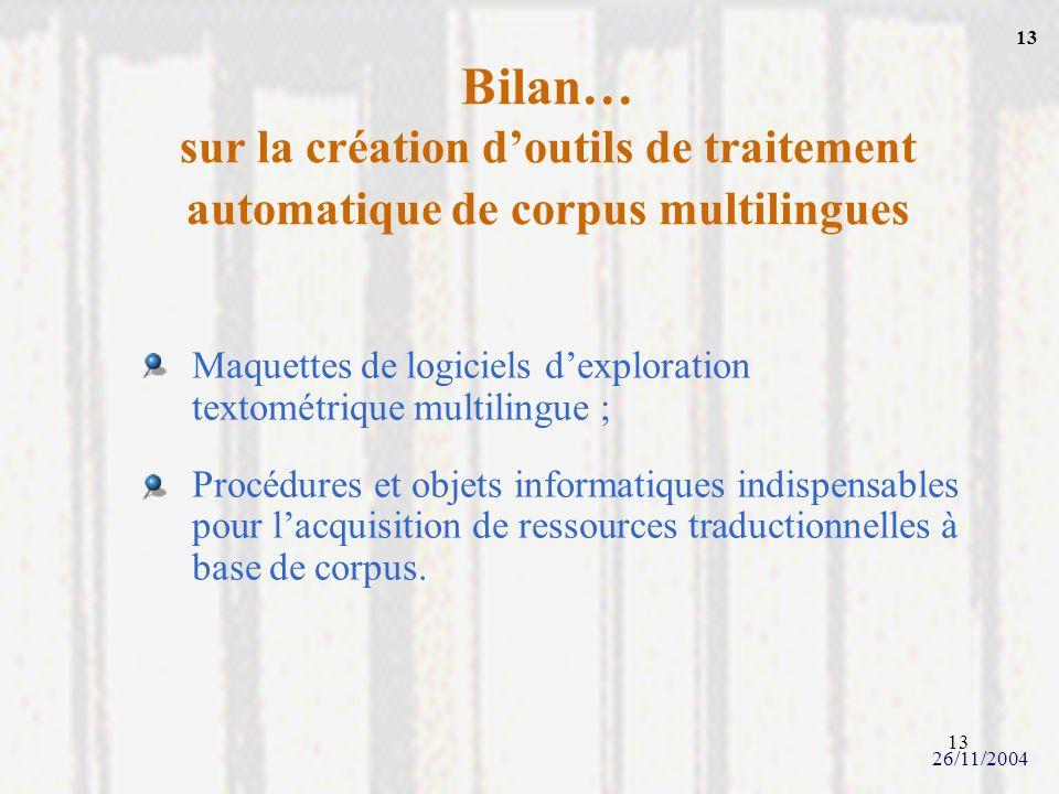 13 Bilan… sur la création doutils de traitement automatique de corpus multilingues Maquettes de logiciels dexploration textométrique multilingue ; Pro