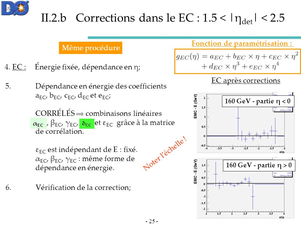 - 25 - II.2.b Corrections dans le EC : 1.5 < |η det | < 2.5 4.