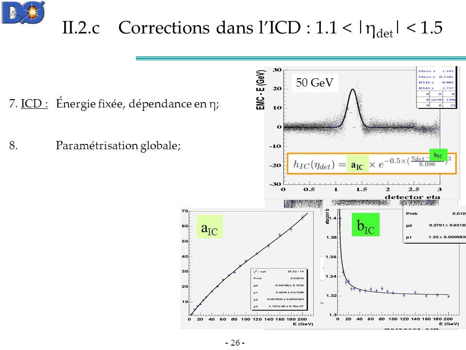 - 26 - 50 GeV CC et EC corrigés On symétrise II.2.c Corrections dans lICD : 1.1 < |η det | < 1.5 7.