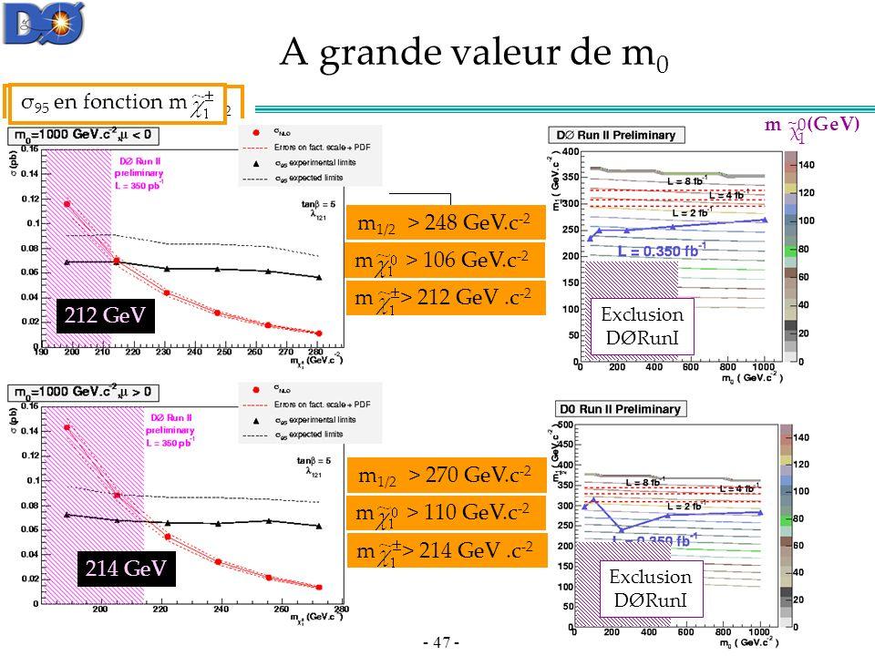 - 47 - m (GeV) χ 0 1 ~ 248 GeV 270 GeV m sfermions >> m jauginos.