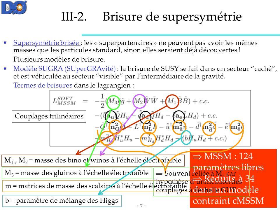 - 8 - Modèle de supergravité minimale m 0 = masse unifiée des scalaires à léchelle de grande unification (GUT); M 1 = M 2 = M 3 = m 1/2 = masse unifiée des jauginos+higgsinos à léchelle GUT; tanβ = paramètre de mélange des Higgs; signe de μ = rapport des valeurs dans le vide des deux doublets de Higgs; A 0 = valeur unifiée des couplages trilinéaires.