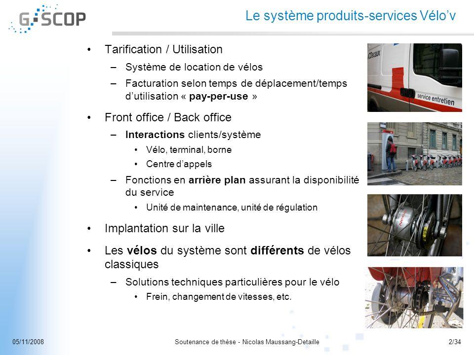 Soutenance de thèse - Nicolas Maussang-Detaille2/3405/11/2008 Le système produits-services Vélov Tarification / Utilisation –Système de location de vé
