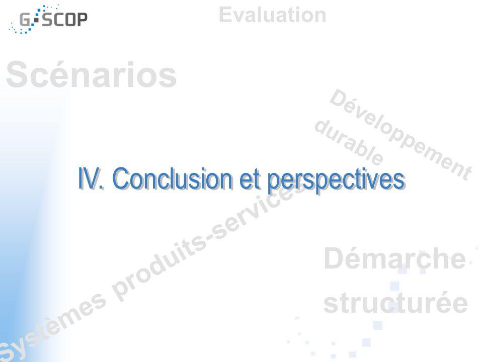 Scénarios Démarche structurée Systèmes produits-services Développement durable Evaluation