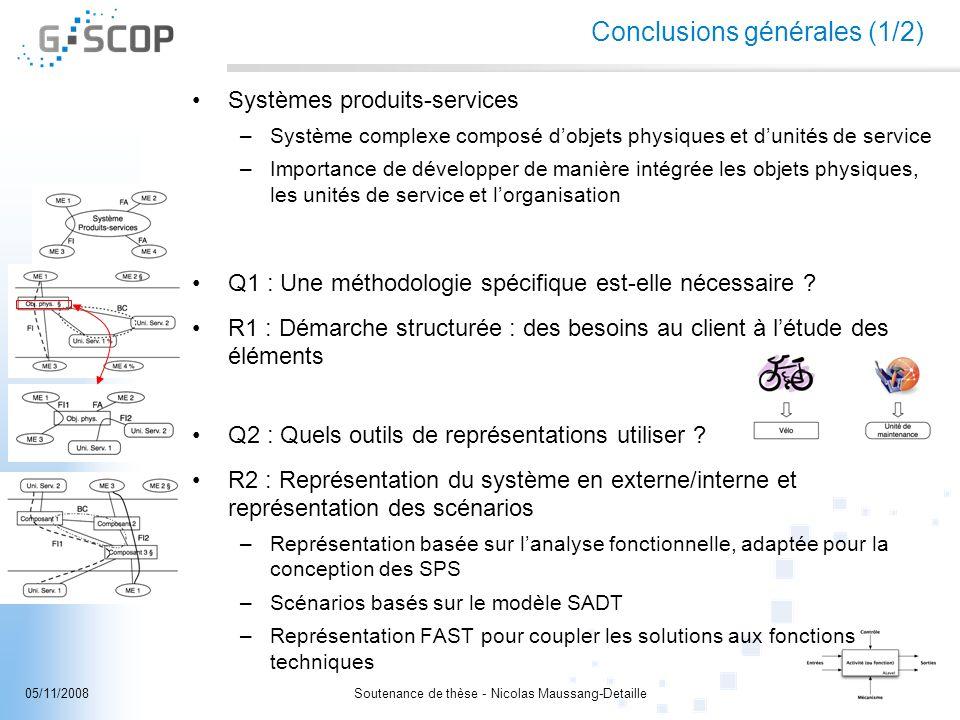 Soutenance de thèse - Nicolas Maussang-Detaille32/3405/11/2008 Conclusions générales (1/2) Systèmes produits-services –Système complexe composé dobjet