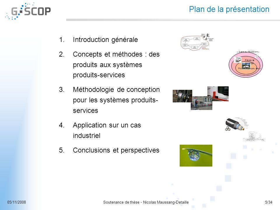 Soutenance de thèse - Nicolas Maussang-Detaille5/3405/11/2008 Plan de la présentation 1.Introduction générale 2.Concepts et méthodes : des produits au