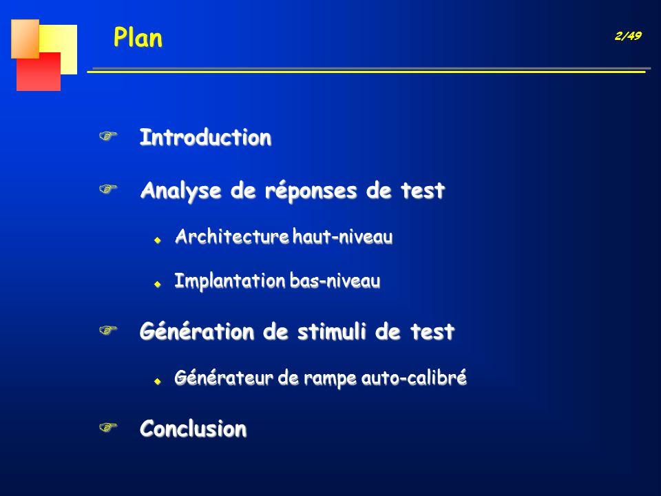 13/49 Analyse : Architecture haut-niveau Structure BIST Optimisée CAN Générateur de signaux Analogiques n bits Entrée Analogique Détecteur Contrôleur 2 n Mots Mémoires (Histo.