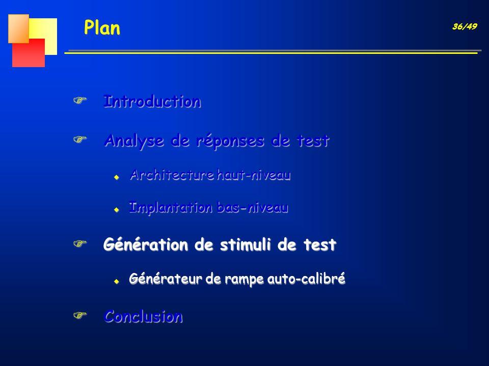 36/49 Plan FIntroduction FAnalyse de réponses de test u Architecture haut-niveau u Implantation bas-niveau FGénération de stimuli de test u Générateur