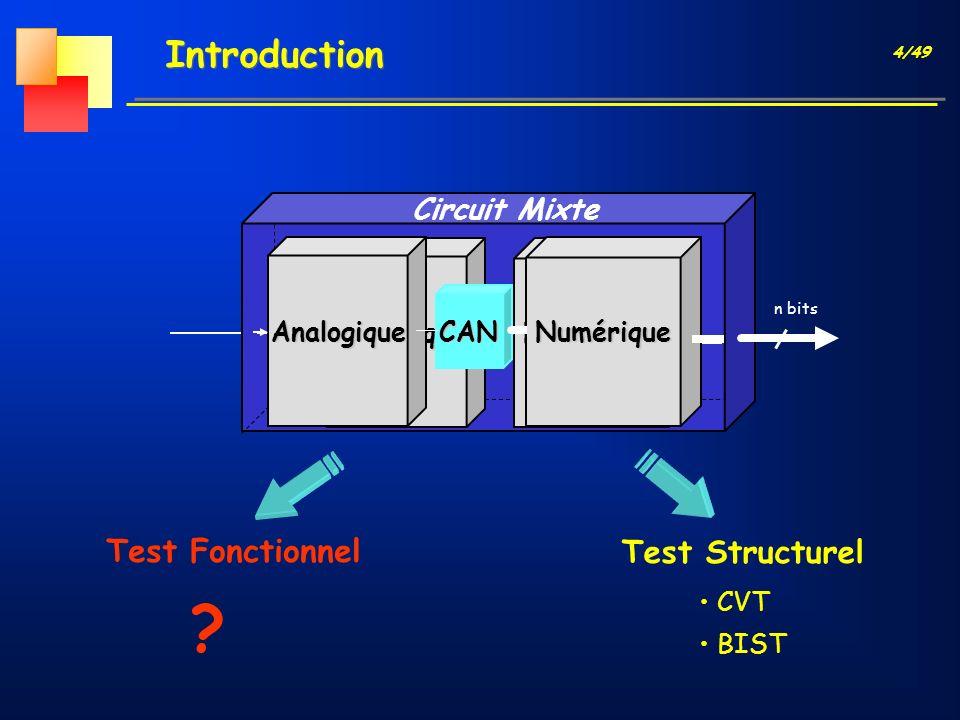 4/49 Introduction Circuit Mixte Test Structurel CVT BIST n bits AnalogiqueNumérique Test Fonctionnel ? AnalogiqueNumériqueCAN