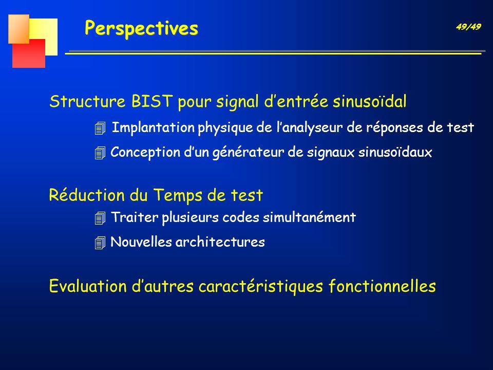49/49 Perspectives Evaluation dautres caractéristiques fonctionnelles Structure BIST pour signal dentrée sinusoïdal 4 Implantation physique de lanalys