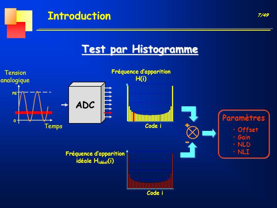 7/49 ADC Introduction Test par Histogramme Temps PE Tension analogique 0 Code i Fréquence dapparition H(i) Paramètres Offset Gain NLD NLI Code i Fréqu