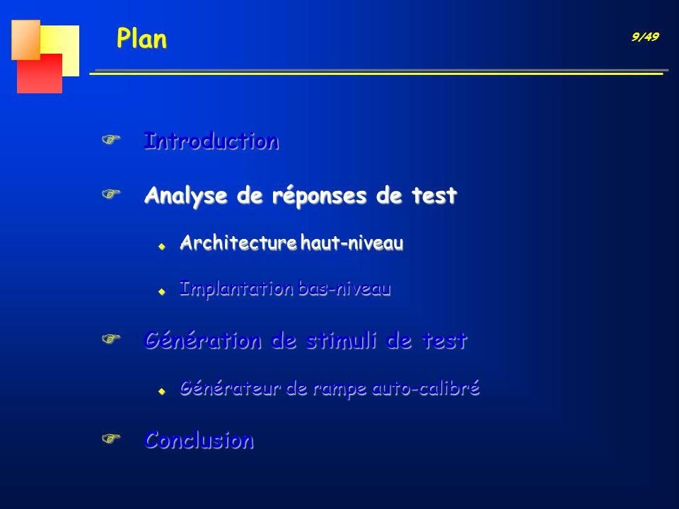9/49 Plan FIntroduction FAnalyse de réponses de test u Architecture haut-niveau u Implantation bas-niveau FGénération de stimuli de test u Générateur