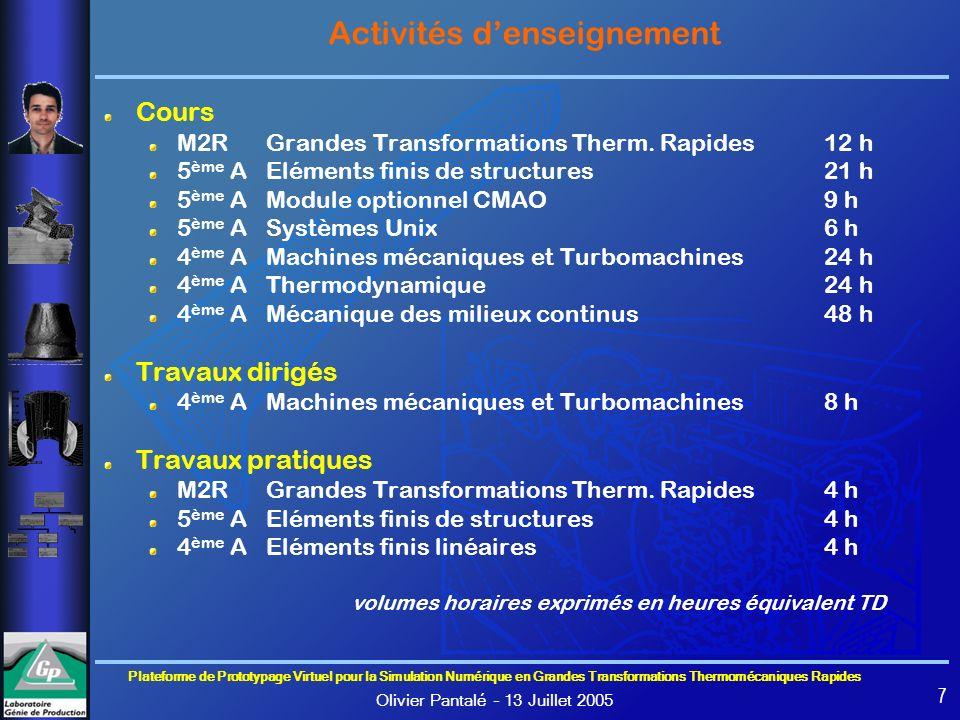 Plateforme de Prototypage Virtuel pour la Simulation Numérique en Grandes Transformations Thermomécaniques Rapides Olivier Pantalé – 13 Juillet 2005 7