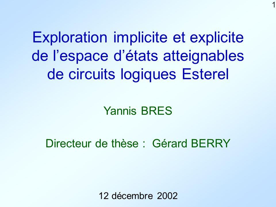 1 Exploration implicite et explicite de lespace détats atteignables de circuits logiques Esterel 12 décembre 2002 Yannis BRES Directeur de thèse : Gérard BERRY