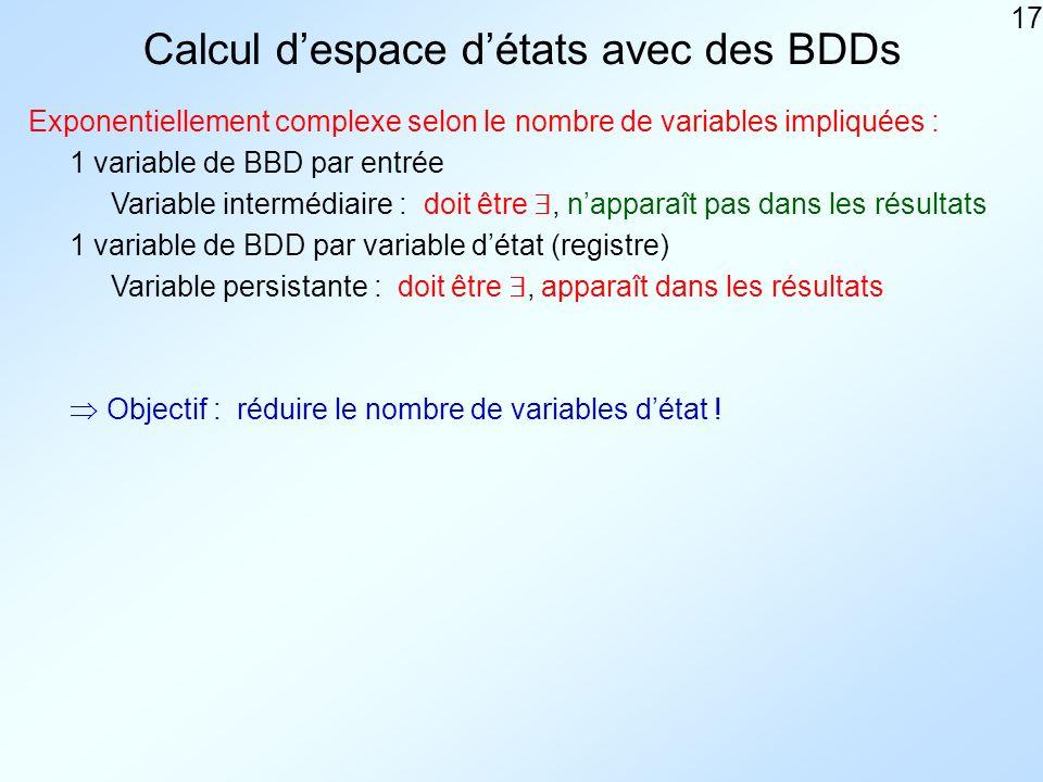 17 Calcul despace détats avec des BDDs Exponentiellement complexe selon le nombre de variables impliquées : 1 variable de BBD par entrée Variable intermédiaire : doit être, napparaît pas dans les résultats 1 variable de BDD par variable détat (registre) Objectif : réduire le nombre de variables détat .