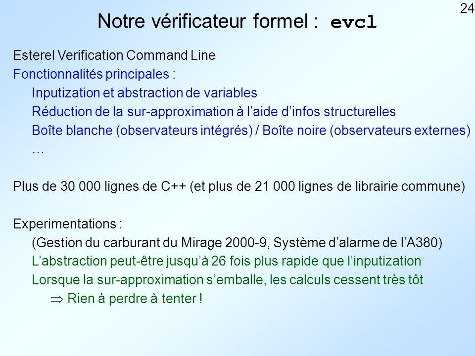 24 Notre vérificateur formel : evcl Esterel Verification Command Line Fonctionnalités principales : Réduction de la sur-approximation à laide dinfos structurelles Boîte blanche (observateurs intégrés) / Boîte noire (observateurs externes) … Plus de 30 000 lignes de C++ (et plus de 21 000 lignes de librairie commune) Inputization et abstraction de variables Experimentations : (Gestion du carburant du Mirage 2000-9, Système dalarme de lA380) Labstraction peut-être jusquà 26 fois plus rapide que linputization Lorsque la sur-approximation semballe, les calculs cessent très tôt Rien à perdre à tenter !