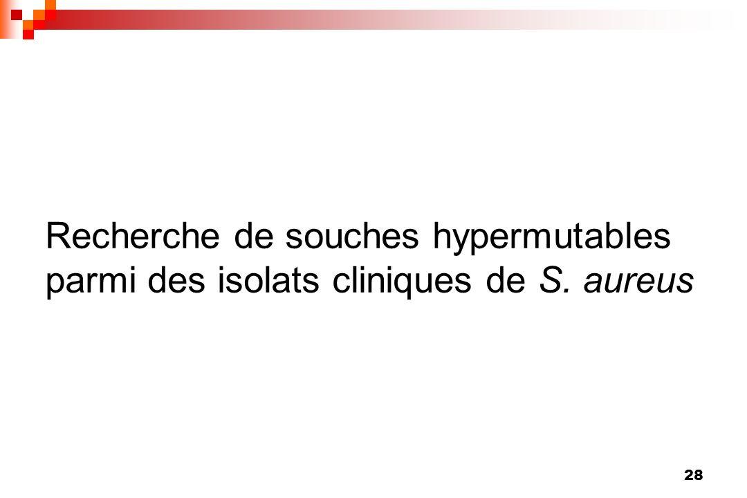 28 Recherche de souches hypermutables parmi des isolats cliniques de S. aureus
