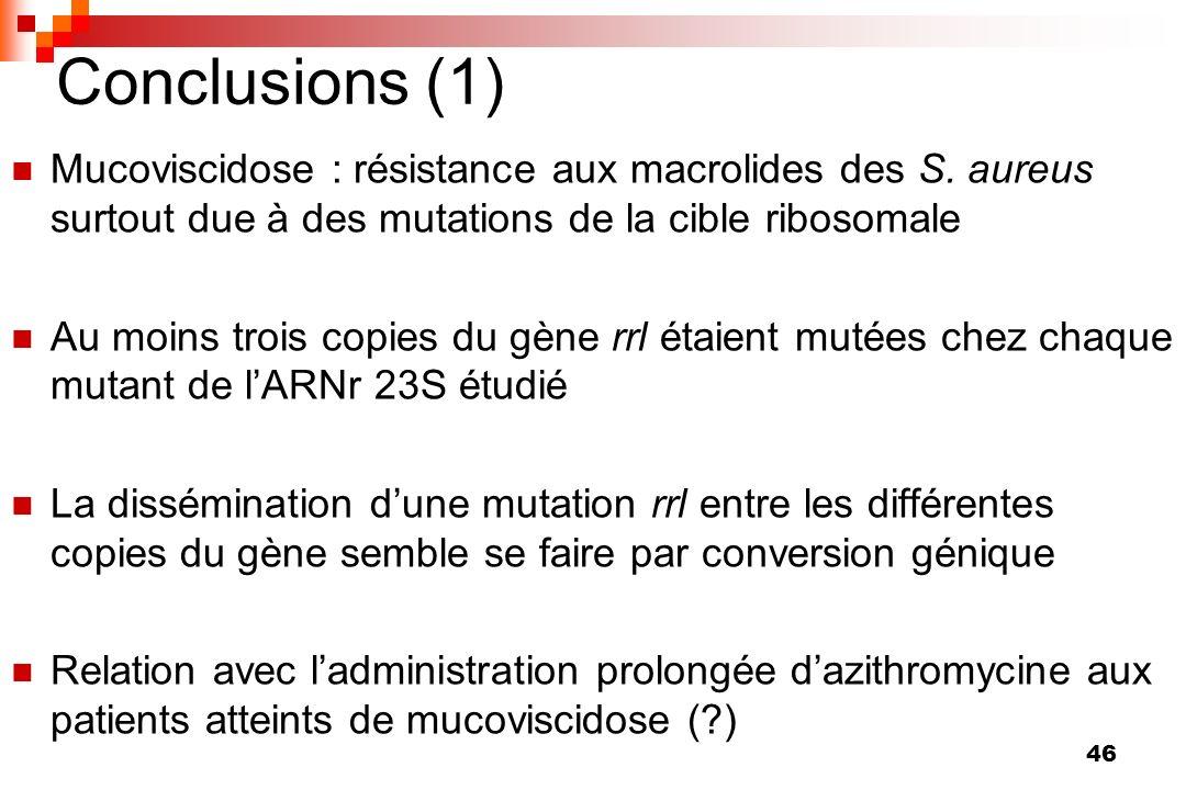 46 Conclusions (1) Mucoviscidose : résistance aux macrolides des S. aureus surtout due à des mutations de la cible ribosomale Au moins trois copies du