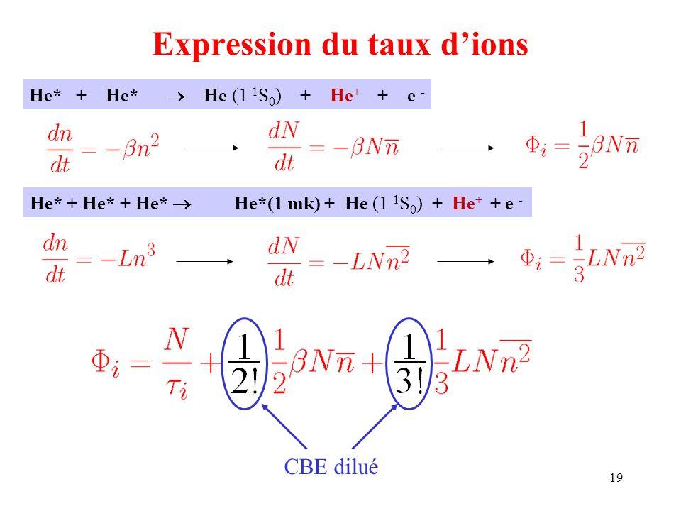 19 Expression du taux dions He* + He* He (1 1 S 0 ) + He + + e - He* + He* + He* He*(1 mk) + He (1 1 S 0 ) + He + + e - CBE dilué