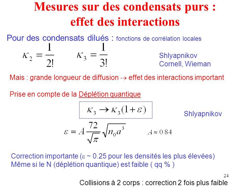 24 Mais : grande longueur de diffusion effet des interactions important Prise en compte de la Déplétion quantique Correction importante ( ~ 0.25 pour