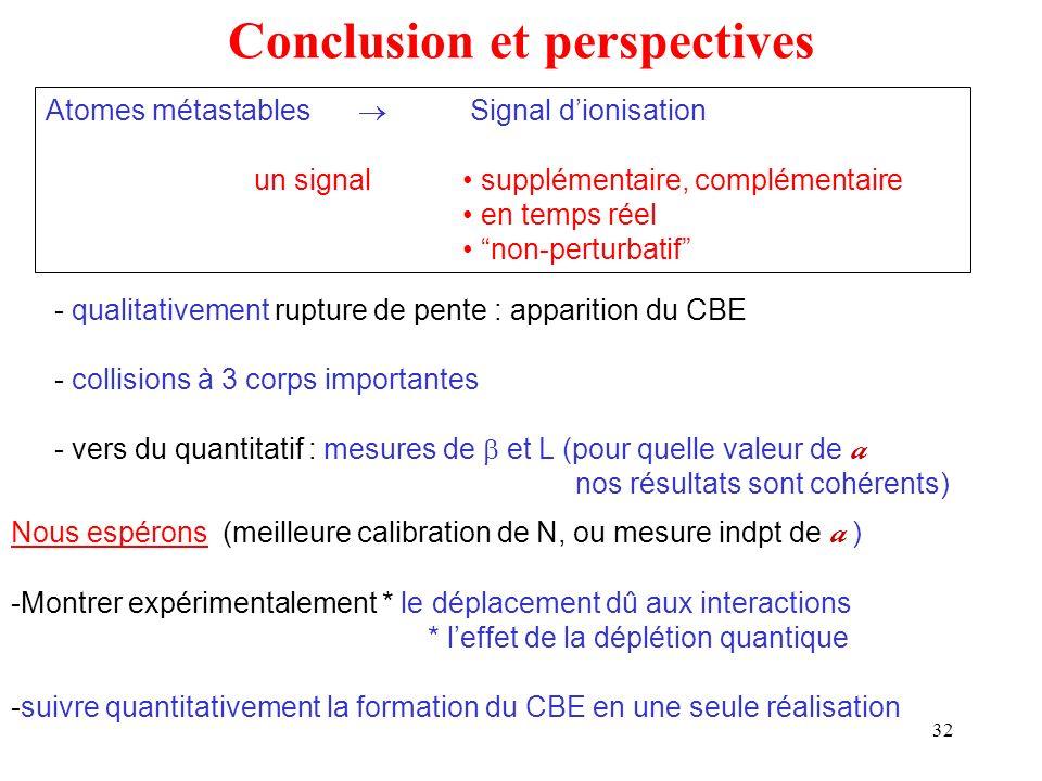 32 Conclusion et perspectives Atomes métastables Signal dionisation un signal supplémentaire, complémentaire en temps réel non-perturbatif - qualitati