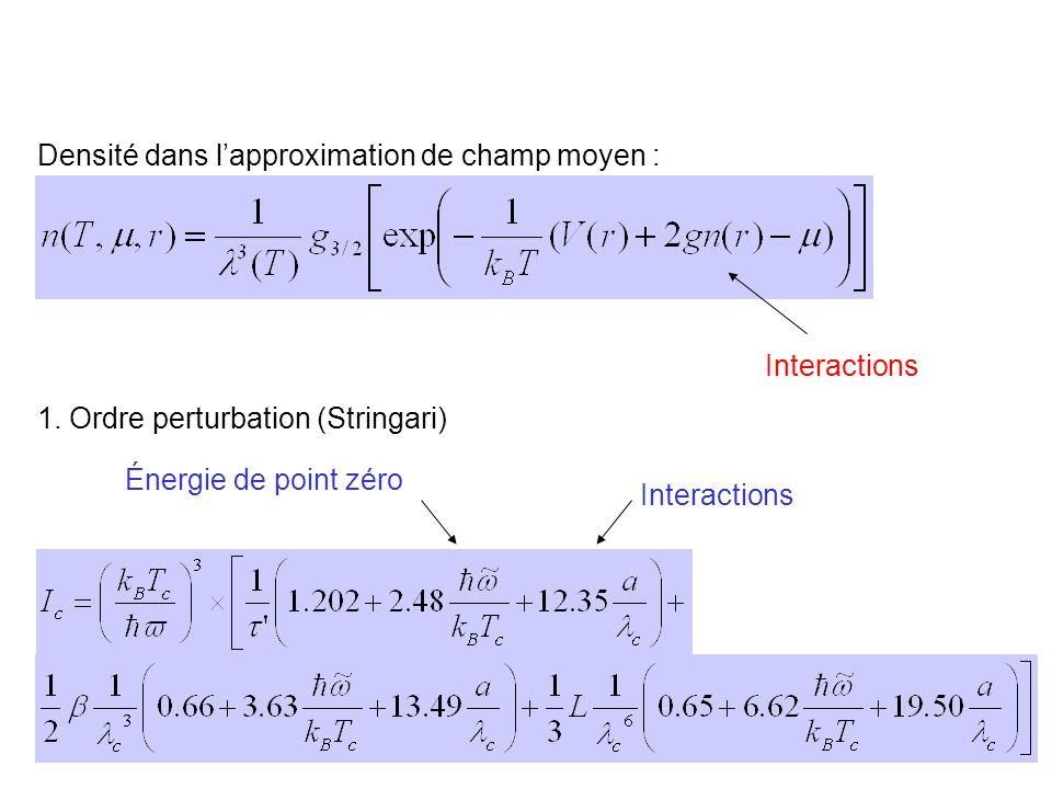 38 Densité dans lapproximation de champ moyen : 1. Ordre perturbation (Stringari) Énergie de point zéro Interactions