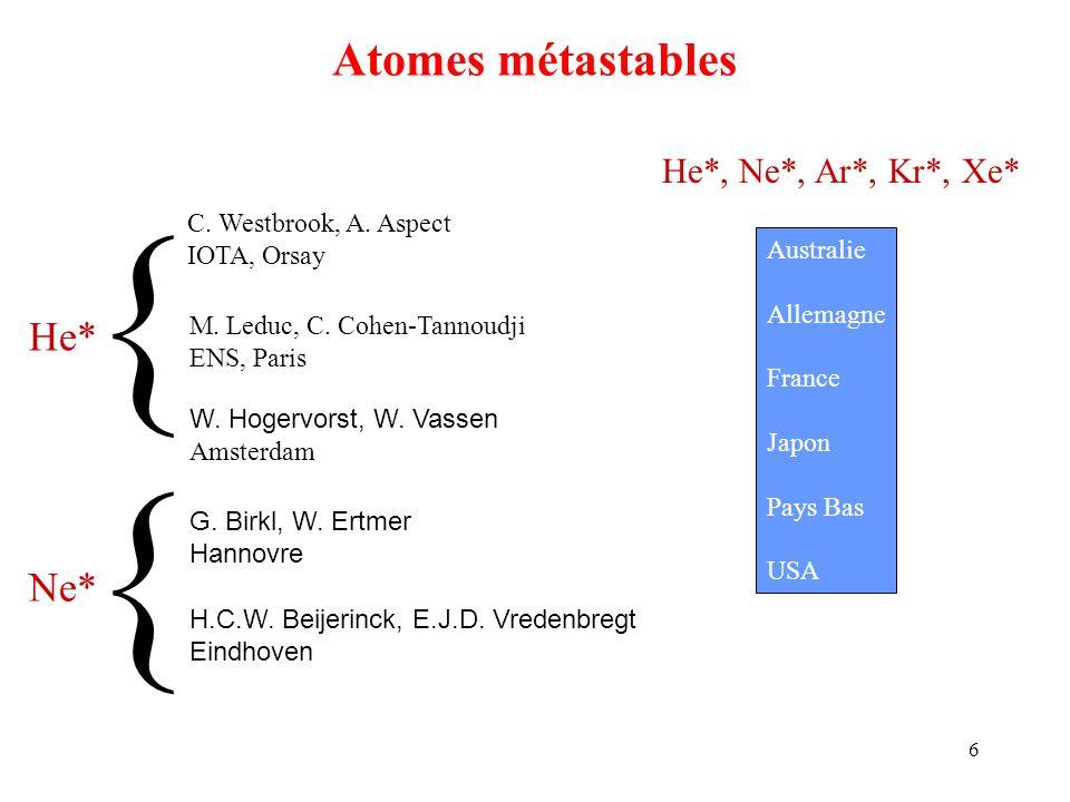6 Atomes métastables C. Westbrook, A. Aspect IOTA, Orsay M. Leduc, C. Cohen-Tannoudji ENS, Paris W. Hogervorst, W. Vassen Amsterdam G. Birkl, W. Ertme