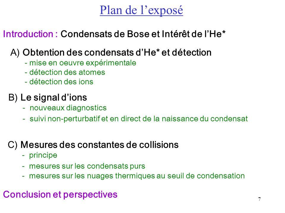 7 A) Obtention des condensats dHe* et détection - mise en oeuvre expérimentale - détection des atomes - détection des ions B) Le signal dions - nouvea