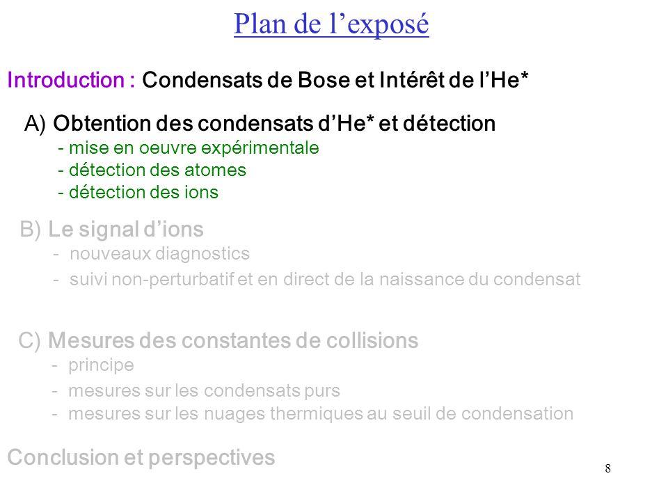 8 A) Obtention des condensats dHe* et détection - mise en oeuvre expérimentale - détection des atomes - détection des ions B) Le signal dions - nouvea