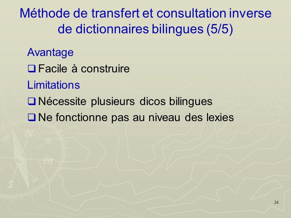 24 Avantage Facile à construire Limitations Nécessite plusieurs dicos bilingues Ne fonctionne pas au niveau des lexies Méthode de transfert et consultation inverse de dictionnaires bilingues (5/5)