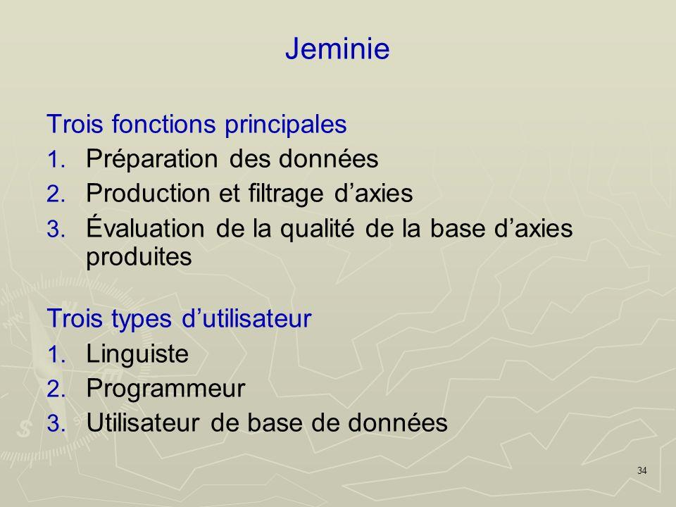 34 Jeminie Trois fonctions principales 1. Préparation des données 2.