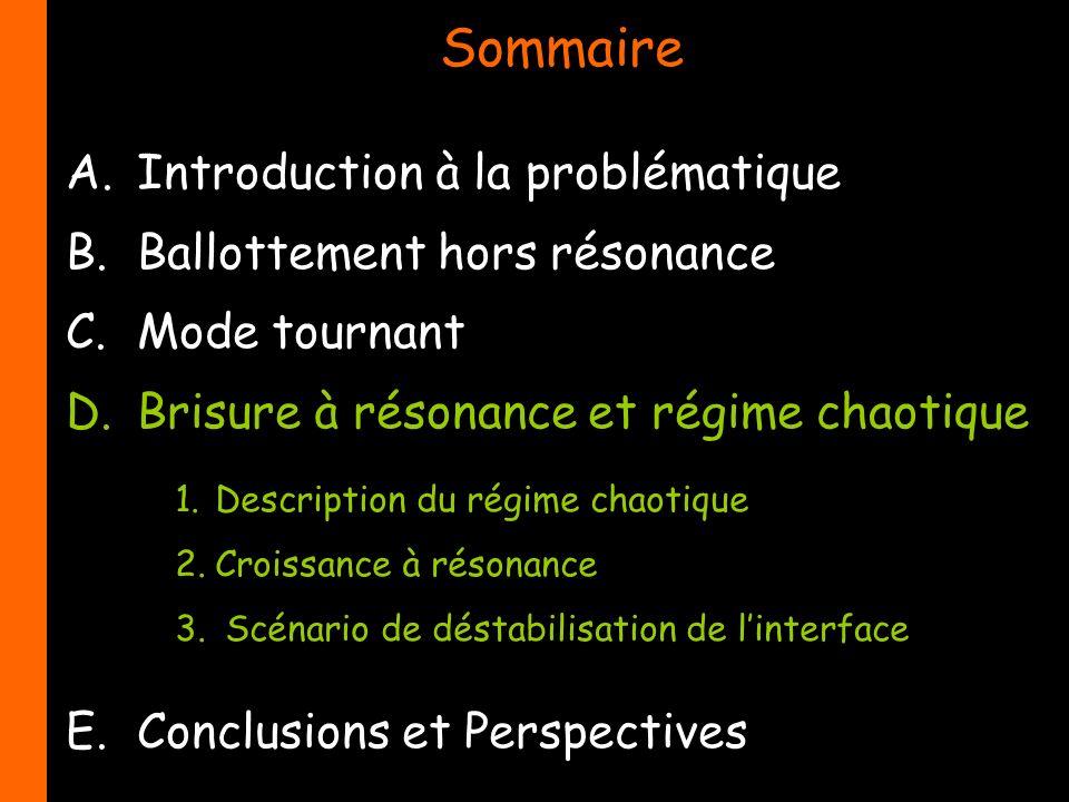 Sommaire A.Introduction à la problématique B.Ballottement hors résonance C.Mode tournant D.Brisure à résonance et régime chaotique E.Conclusions et Pe