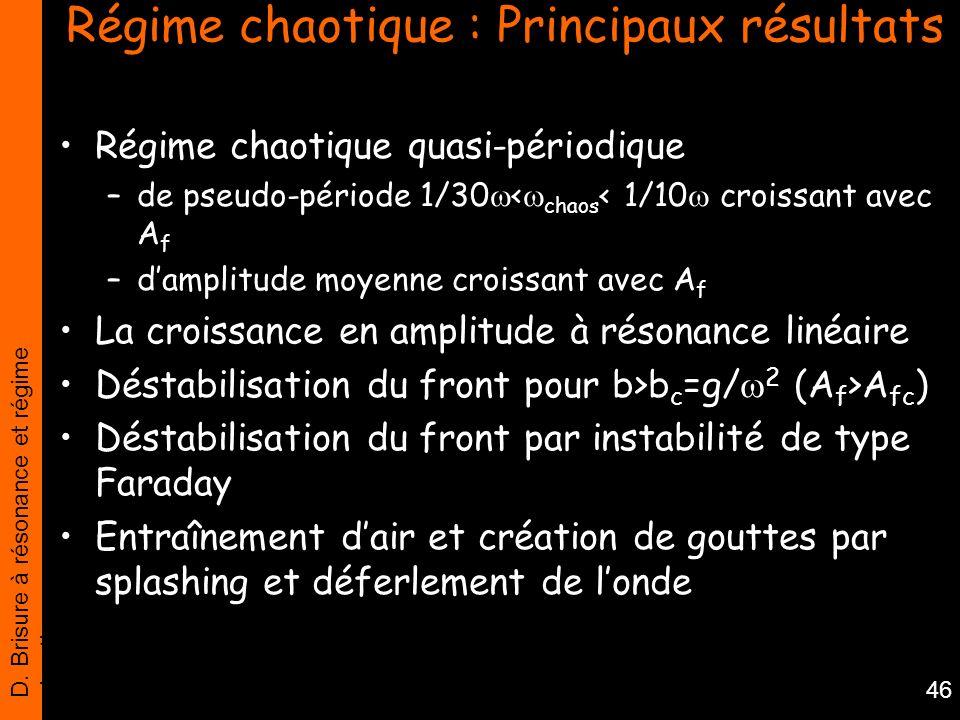 D. Brisure à résonance et régime chaotique 46 Régime chaotique : Principaux résultats Régime chaotique quasi-périodique –de pseudo-période 1/30 < chao