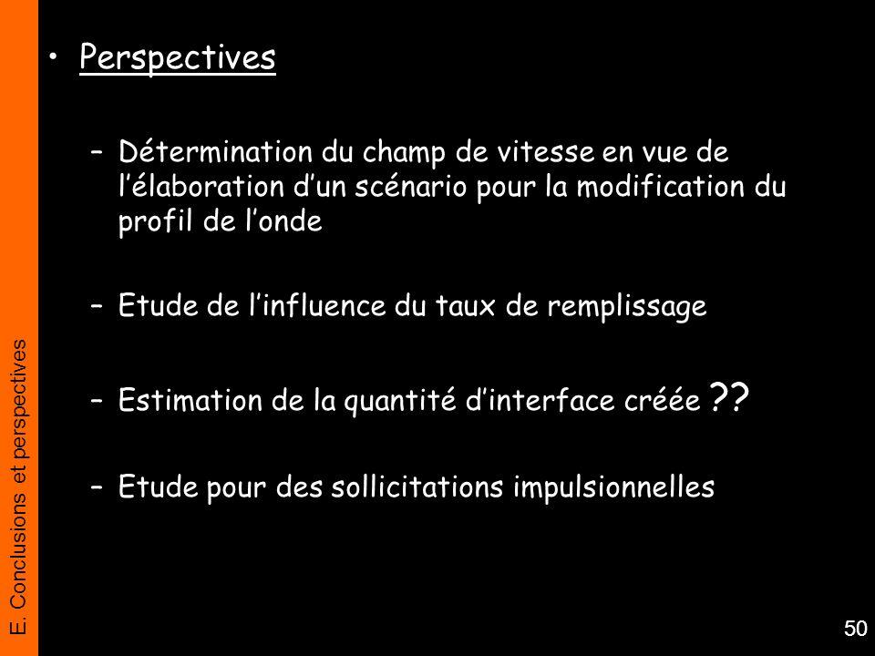 E. Conclusions et perspectives 50 Perspectives –Détermination du champ de vitesse en vue de lélaboration dun scénario pour la modification du profil d