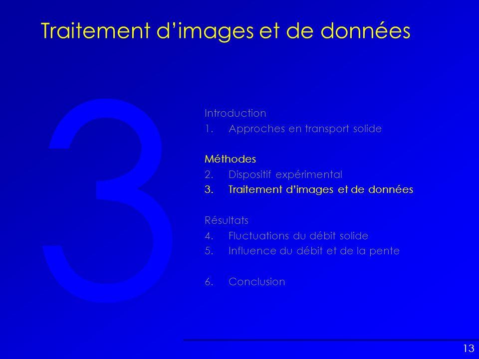 13 3 Traitement dimages et de données Introduction 1.Approches en transport solide Méthodes 2.Dispositif expérimental 3.Traitement dimages et de donné