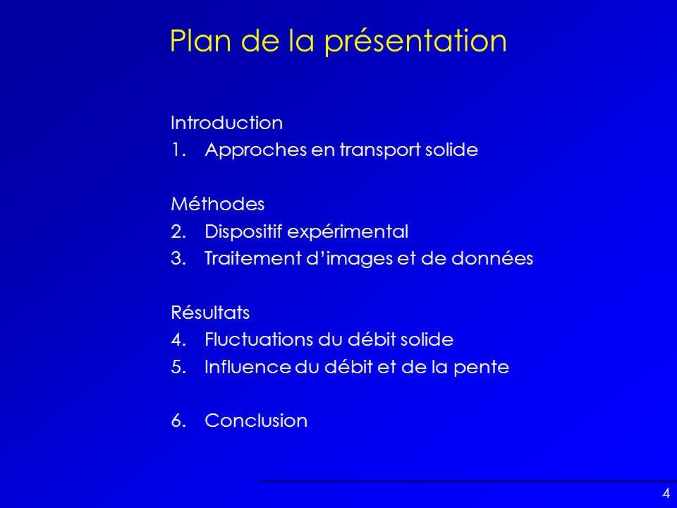 4 Plan de la présentation Introduction 1.Approches en transport solide Méthodes 2.Dispositif expérimental 3.Traitement dimages et de données Résultats
