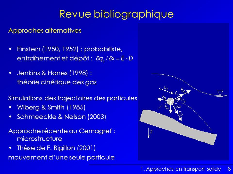 8 Approches alternatives Einstein (1950, 1952) : probabiliste, entraînement et dépôt : Revue bibliographique Jenkins & Hanes (1998) : théorie cinétiqu