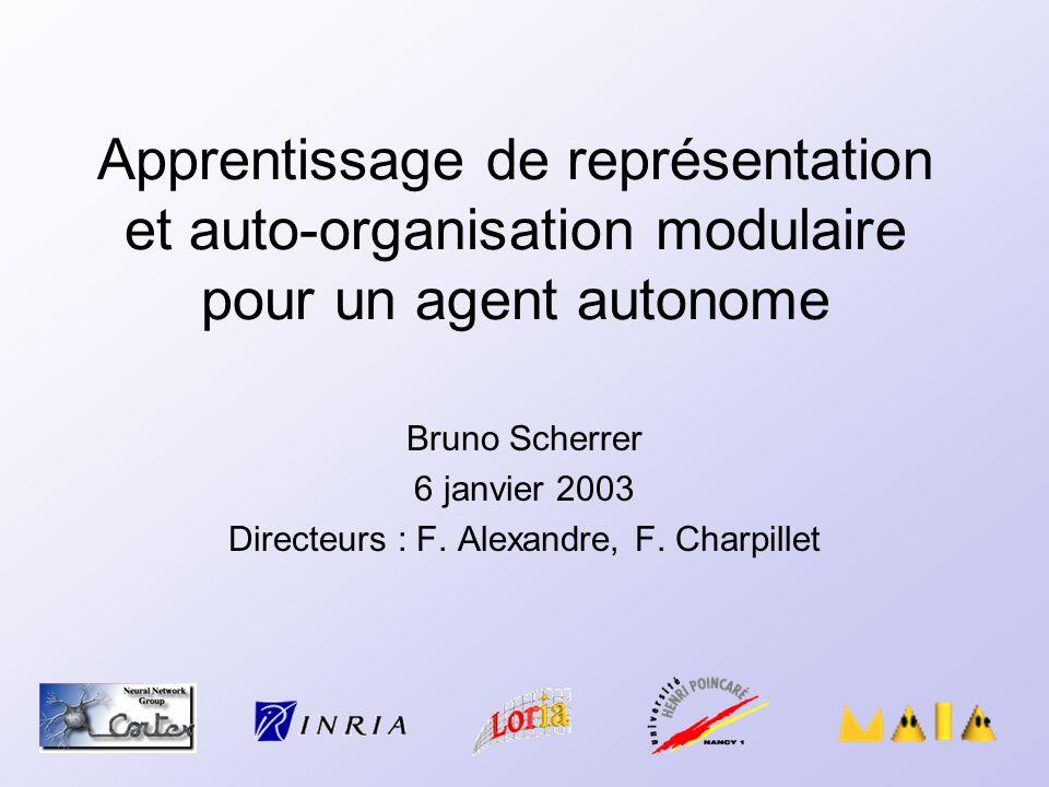 Apprentissage de représentation et auto-organisation modulaire pour un agent autonome Bruno Scherrer 6 janvier 2003 Directeurs : F. Alexandre, F. Char