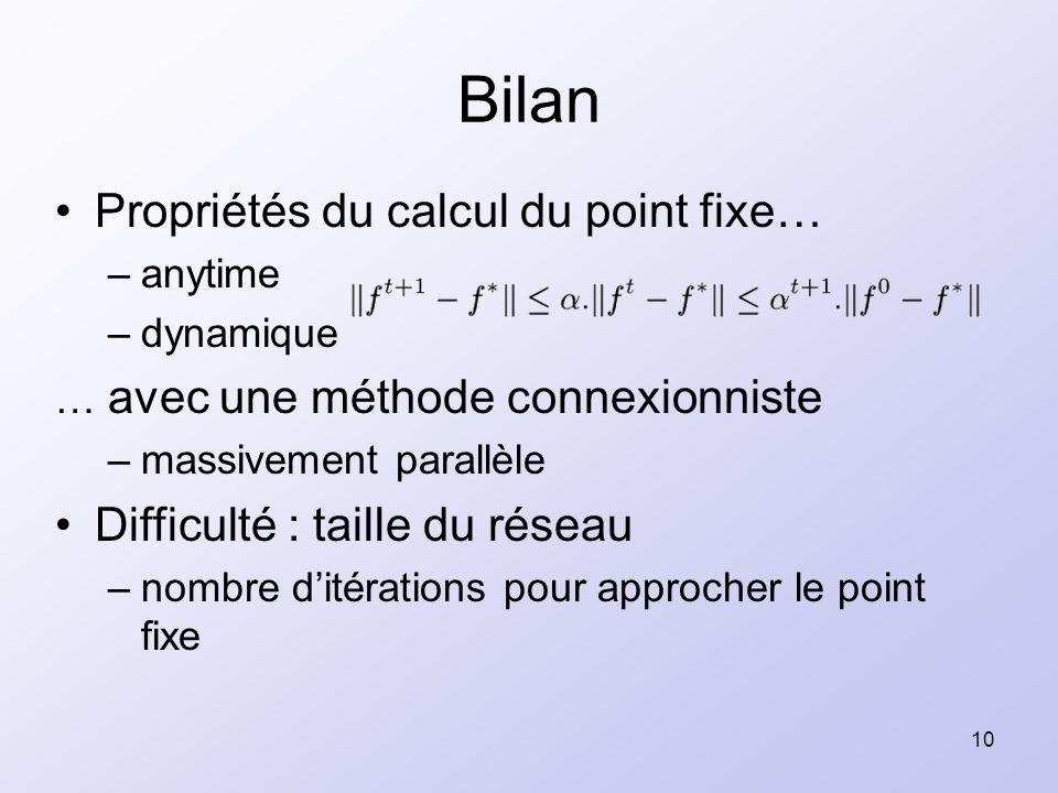 10 Propriétés du calcul du point fixe… –anytime –dynamique … avec une méthode connexionniste –massivement parallèle Difficulté : taille du réseau –nom