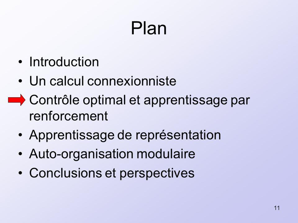 11 Plan Introduction Un calcul connexionniste Contrôle optimal et apprentissage par renforcement Apprentissage de représentation Auto-organisation mod