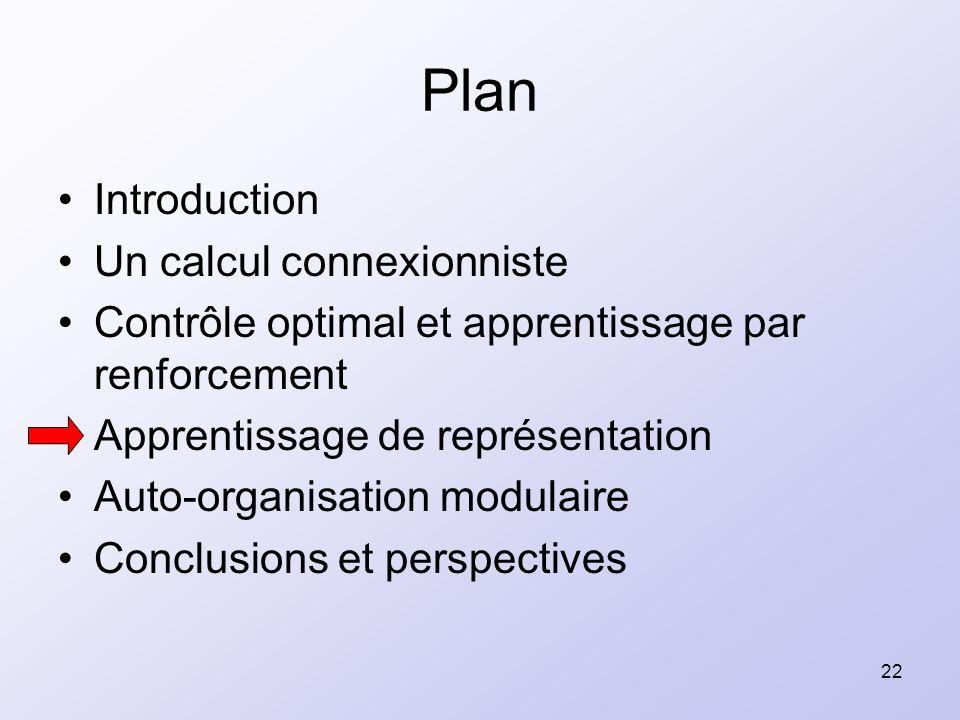 22 Plan Introduction Un calcul connexionniste Contrôle optimal et apprentissage par renforcement Apprentissage de représentation Auto-organisation mod