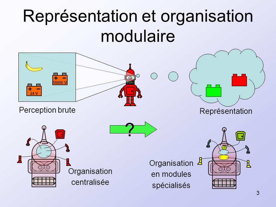 3 Représentation et organisation modulaire Organisation en modules spécialisés Organisation centralisée 24 V 50000 V Perception brute Représentation