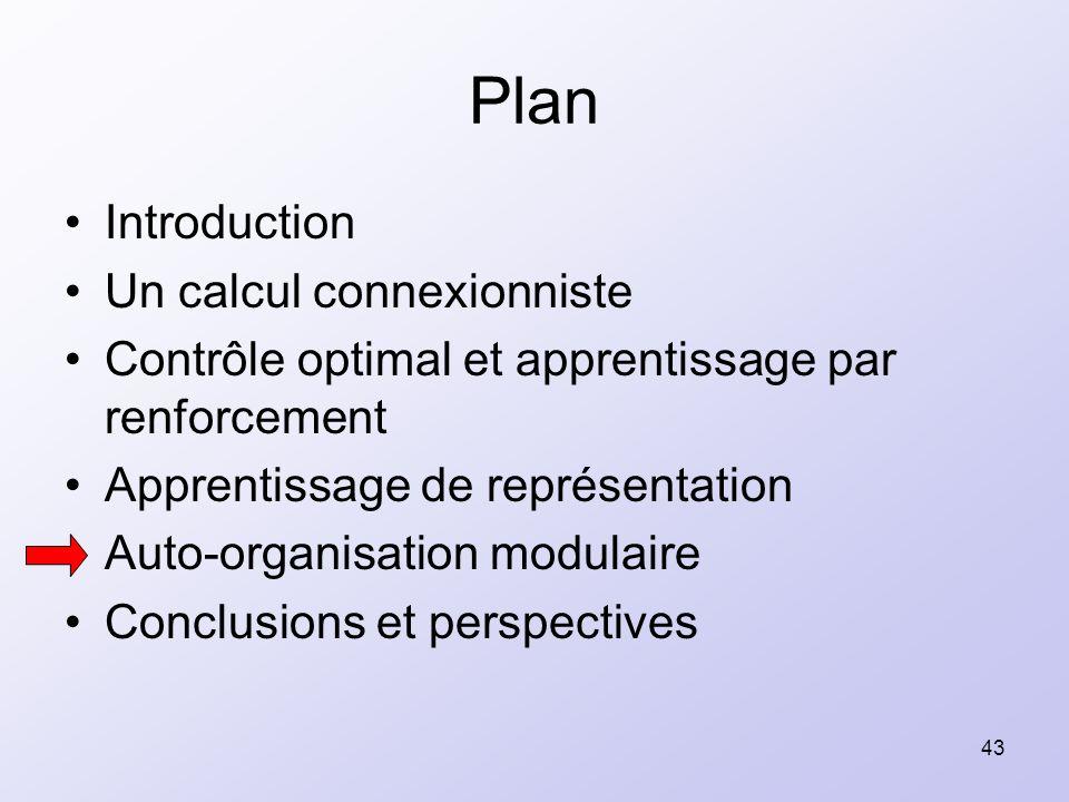 43 Plan Introduction Un calcul connexionniste Contrôle optimal et apprentissage par renforcement Apprentissage de représentation Auto-organisation mod